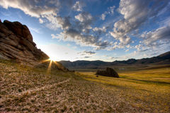 Mongolian Landscape at Sunrise Royalty Free Stock Photography