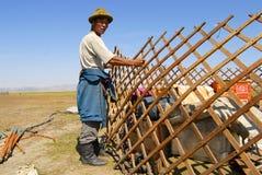 Mongolian man assembles yurt in steppe, circa Harhorin, Mongolia. Stock Photography
