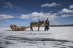 Mongolian man with his horse sledge on frozen lake Khovsgol. In northern Mongolia Stock Photo