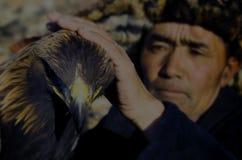 Mongolian Man Trained Eagle Kazakh Olgei Western Concept Stock Image
