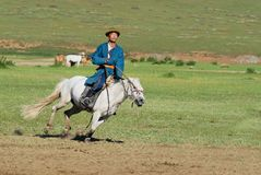 Mongolian man wearing traditional costume rides on horse back in a steppe in Kharkhorin, Mongolia. stock image