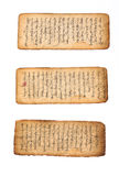 Mongolian manuscript. Three pieces of ancient mongolian manuscript in fairly good condition.  Circa 18-19th century.  Mongolian script is written top to bottom Royalty Free Stock Image