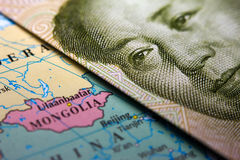 Mongolian map and Chinese banknote Stock Images