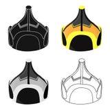 Mongolian military helmet.Colored metal helmet conical shape.Mongolia single icon in cartoon style vector symbol stock. Web illustration vector illustration