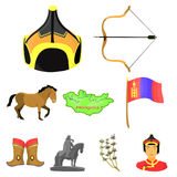 Mongolian national characteristics. Icons set about Mongolia.Clothing, soldiers, equipment. Mongolia icon in set Royalty Free Stock Photography