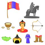 Mongolian national characteristics. Icons set about Mongolia.Clothing, soldiers, equipment. Mongolia icon in set Stock Photo