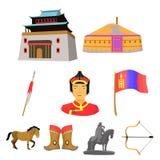 Mongolian national characteristics. Icons set about Mongolia.  Stock Photos
