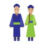 Mongolian national dress. Illustration of national costume on white background Royalty Free Stock Photography