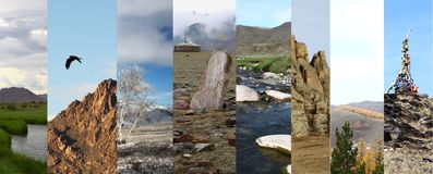 Mongolian nature montage Stock Photography