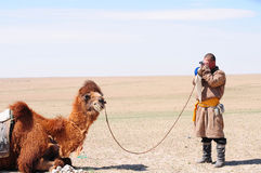 Mongolian nomadic herdsman with his camel Royalty Free Stock Photos