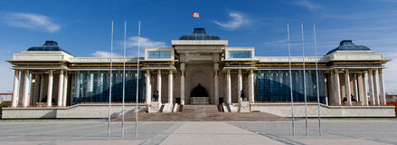Mongolian parliament. New building of Mongolian parliament on Suchbaatar square in Ulaanbaatar stock photos