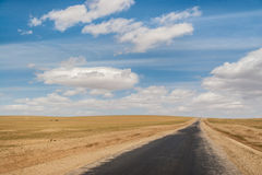 Mongolian road. Highway in wild Mongolian steppe Royalty Free Stock Photo
