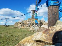 Mongolian`s Activity Track and Praying Ceremony stock photo