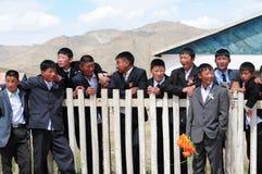 Mongolian schoolboys stock photography