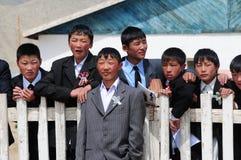 Mongolian schoolboys royalty free stock photography