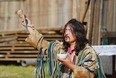 Mongolian shaman performs a ritual in Ulaanbaatar, Mongolia. Stock Images