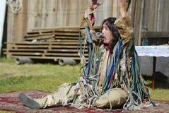 Mongolian shaman performs a ritual in Ulan Bator, Mongolia. Stock Images