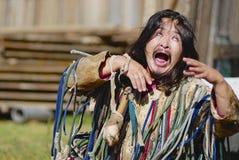 Mongolian shaman performs a ritual in Ulan Bator, Mongolia. Stock Image