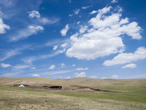 Mongolian steppe with ger Royalty Free Stock Image