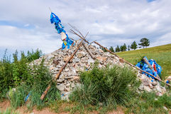 Mongolian stone shrine for travelers Royalty Free Stock Images