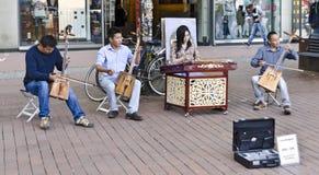Mongolian street musicians Stock Photos