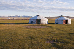 Mongolian style life. A typical nomadic family house in countryside Stock Photo