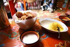 Mongolian traditional food in Gorkhi-Terelj National Park at Ulaanbaatar , Mongolia stock photos