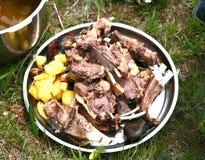 Mongolian traditional food in Gorkhi-Terelj National Park at Ulaanbaatar , Mongolia royalty free stock photo