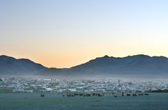 Mongolian village at sunset Royalty Free Stock Photo