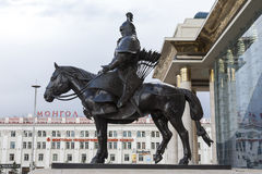 Mongolian Warrior on Horse Statue Royalty Free Stock Image