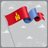 Mongolian wavy flag. Vector illustration. Stock Images