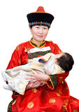 Mongolian woman and baby Royalty Free Stock Images