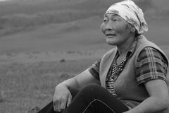 Mongolian woman (Black & white) Stock Photo
