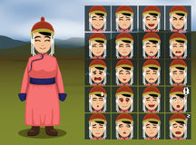Mongolian Woman Cartoon Emotion faces Vector Illustration Stock Image