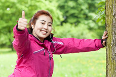 Mongolian woman doing sport Stock Photography
