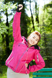 Mongolian woman during morning jogging Royalty Free Stock Photography