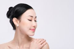 Mongolian woman with perfect skin Royalty Free Stock Image