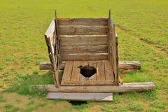 Mongolian wooden squat toilet Stock Photo