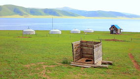 Mongolian wooden squat toilet Stock Image