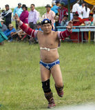 Mongolian Wrestler. A Mongolian wrestler performs the eagle dance after a match Royalty Free Stock Images