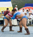 Mongolian wrestlers Stock Images