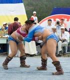 Mongolian wrestlers Stock Images