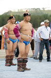 Mongolian wrestlers Royalty Free Stock Image