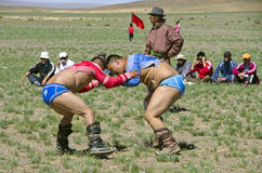 Mongolian wrestlers Stock Photos