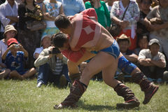 Mongolian Wrestlers compete Royalty Free Stock Images