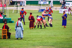 Mongolian wrestlers compete Stock Photos
