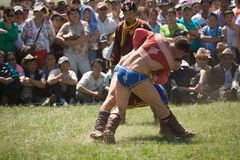 Mongolian Wrestlers at Nadaam Games Stock Photo