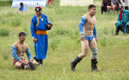 Mongolian Wrestling Match Stock Images
