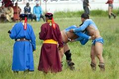 Mongolian Wrestling Match Royalty Free Stock Photography