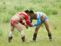 Mongolian Wrestling Match Royalty Free Stock Photos